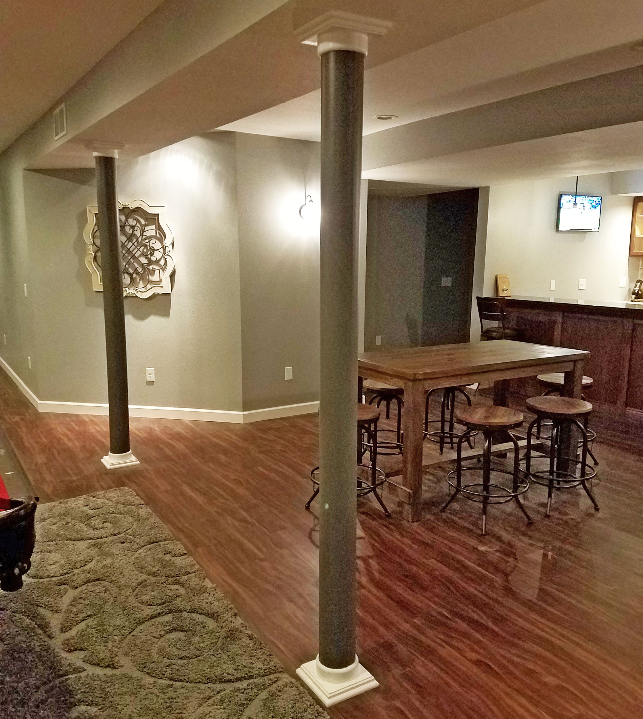 Lally Column Covers In Basement Remodel