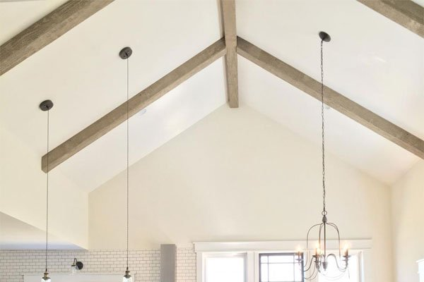 Faux Wood Beams in Cathedral Ceiling