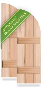Exterior Wood Arch-Top Board-n-Batten Shutters