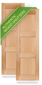 Exterior Wood Three Equal Flat Panel Shutters