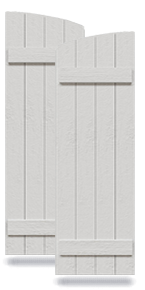 Rustic Joined Board-n-Batten Faux Wood Shutters w/Elliptical Arch Top (Per Pair)